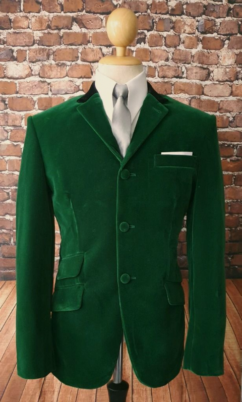 """Kensington"" Green Velvet With Black Collar Jacket"